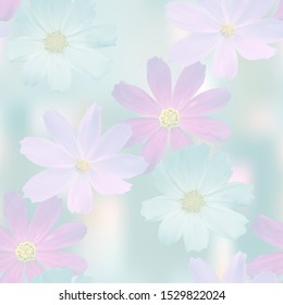 Flower cosmos in the misty haze on the colored abstract background, floral seamless texture of white, lilac and purple flower, vector.
