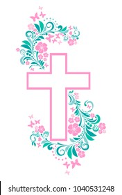 Flower Cross isolated on White background. Christian Symbol. Vector Illustration
