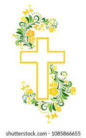 Flower Cross isolated on White background. Christian Symbol. Vector Illustration