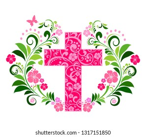 Flower Cross Made of Painted Floral Elements. Perfect for Easter, Baptism, and Christening Announcements. Flower Cross isolated on White background. Christian Symbol. Vector Illustration