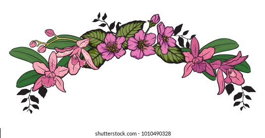 A flower crown with orchids and blossoms. Can also be used as a decorative header. Vector illustration.