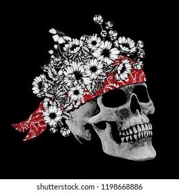 Flower crowned skull.Vector t shirt print design.