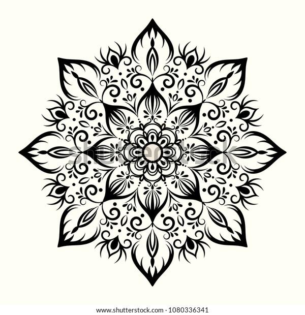 Flower Decorative Mandala Drawing Henna Tattoo Stock Vector Royalty Free 1080336341