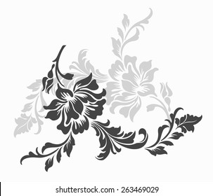 flower design sketch for pattern,lace edge.
