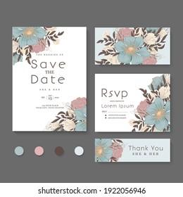 Flower designs border - floral wedding set vector illustration