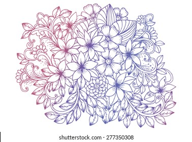 Flower doodle drawing. Floral design elements