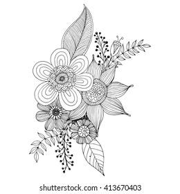 Doodle Sketch Flower Easy Doodle Art