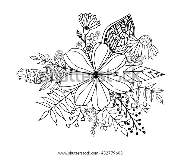 Flower Doodle Drawing Freehand Vector Coloring Stock Vector Royalty Free 452779603