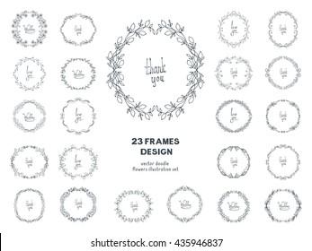 Flower doodle frame. Big collection vector illustration. Hand drawn circle frame. Card, poster, banner design element. Wedding invitation template set. Black and white line decoration elements group.
