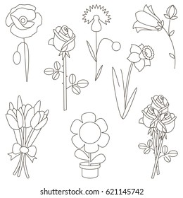 Flower elements set, collection of coloring book template, the group of outline digital elements vector illustration, kid game page.
