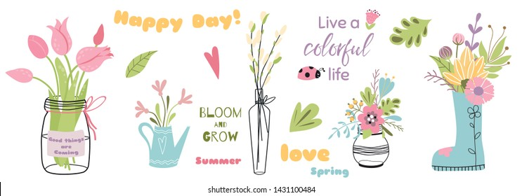 Flower elements Set of mason jars with flower bouquets Cute hand drawn color Inspirational quotes Happy day Spring Summer Love phrases for lettering design Floral decor leaves Vector illustration.