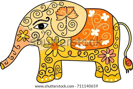 Flower Elephant Vector Trunk Wildlife Background Colorful Floral Graphic Wallpaper Cute Baby Animal Art