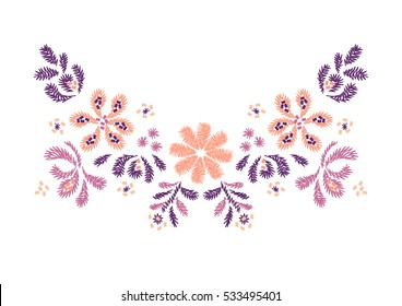 flower embroidery  artwork design for neckline clothing, isolated vector