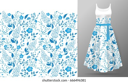 Flower embroidery on dress mock up. Cute little flowers seamless border textile print vintage art. Fashion decoration patch realistic 3d vector illustration woman clothes. Blue on white.