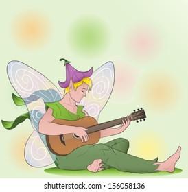 flower fairy boy playing guitar