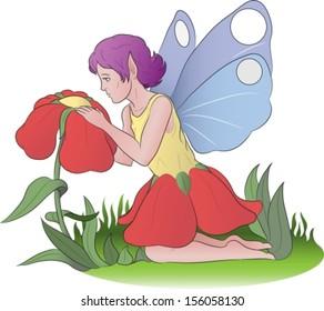 flower fairy taking care of her flower