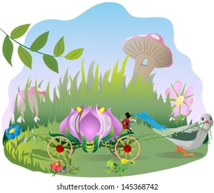flower  fantasy carriage pulled by a bird near grass, mushrooms and flowers. Vector illustration.
