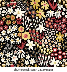 Flower field red white gold foil florals on black seamless vector pattern. Repeating dense liberty flower meadow background. Scandinavian style line art florals for fabric, wallpaper, home decor