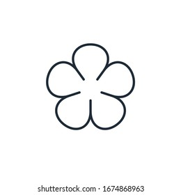 Flower. Five petals. Trendy design template. Simple vector linear icon isolated on white background.