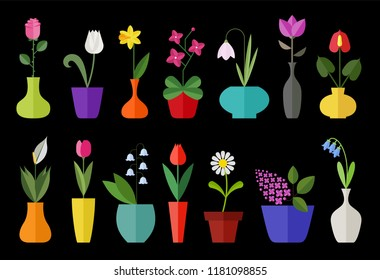 Flower flat icon set isolated on black. Various flowers in a vase including rose, tulip, orchid, Espatifilo, bells flowers, Bellis perennis, bulb flowers.