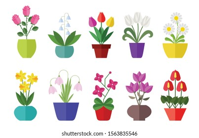 Flower flat icon set isolated on white. Various flowers in a vase including rose, tulip, orchid, Espatifilo, bells flowers, Bellis perennis, bulb flowers.