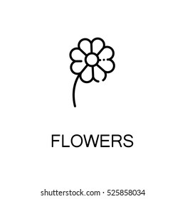 Flower flat icon. Single high quality outline symbol of spring for web design or mobile app. Thin line signs of flower for design logo, visit card, etc. Outline pictogram of flower