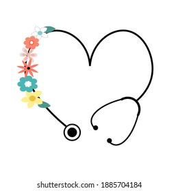 flower floral heart stethoscope vector