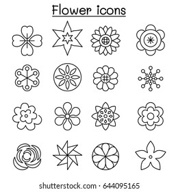Flower, Floral  icon set in thin line style