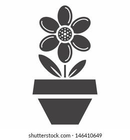 Flower in flowerpot - vector icon