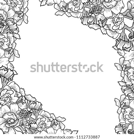 Flower frame black flowers white background stock vector royalty flower frame black flowers white background design invitation card wallpaper design sketch mightylinksfo