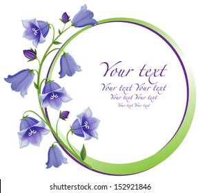 Flower frame. Flower borders. Bouquet Campanula bell isolated. vector