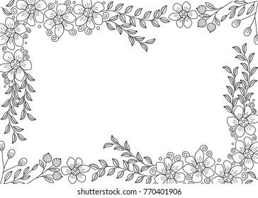 Flower Frame Coloring Book For Adult Doodle Stylevector Illustration Handdrawn