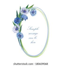 Flower frame. Cornflower posy oval border. Spring floral background.