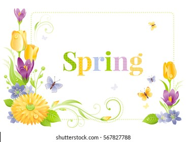 Flower frame isolated white background. Spring summer nature vector illustration. Floral border. Cute Crocus tulip snowdrop chrysanthemum bouquet. Springtime poster. Text lettering logo greeting card