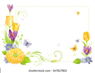 Flower frame isolated white background. Spring summer nature vector illustration. Floral border. Crocus tulip snowdrop chrysanthemum bouquet. Template poster. Mothers day Birthday Wedding invitation