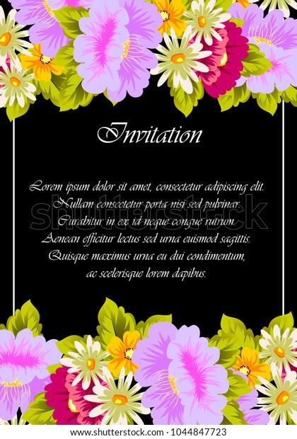 Flower Frame On Black Background Your Stock Vector (Royalty