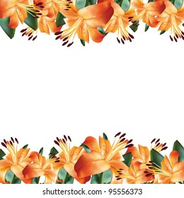Flower frame with orange lily