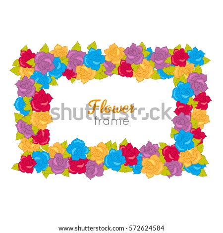 6cbc0b122a Flower frame. Rectangular wreath of different blossoms. Leaves. Colourful  selection of flowers on