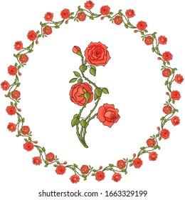Flower frame of red roses