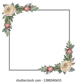 Flower Frame with yellow rose and green leaves. Frame for wedding stationary, fashion, wallpapers, greetings, background.