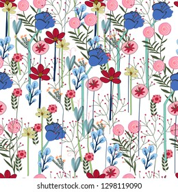 Flower garden colorful seamless pattern,illustration vector by freehand doodle comic art,flat design