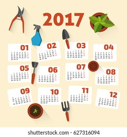 Flower and Gardening set of flat icons - Calendar for 2017