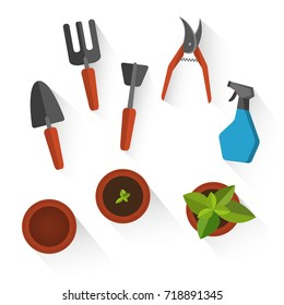 Flower and Gardening set of flat icons