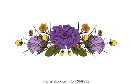 Flower garland on a white background. Floral arrangement in vintage style. Isolated object. Vector illustration.