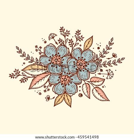 Flower Garland Template Invitation Card Vintage Stock Vector