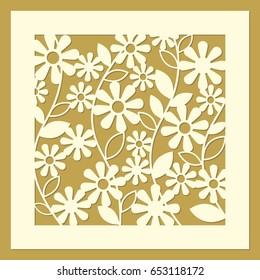 Flower geometric ornament. Laser cut template pattern for decorative screen, panel. Modern design for wedding favor box, gift box, stencil, paper, wood, metal cutting. Vector illustration.