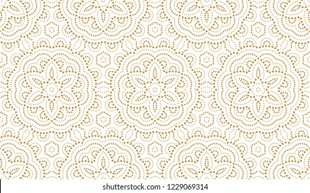 Flower geometric pattern with points . Seamless vector background. White and gold ornament. Ornament for fabric, wallpaper, packaging. Decorative print