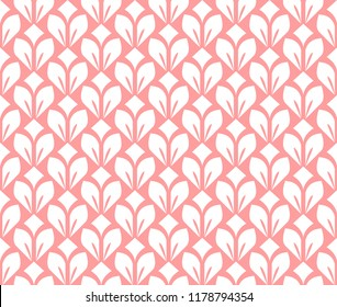 Flower geometric pattern. Seamless vector background. White and pink ornament. Ornament for fabric, wallpaper, packaging. Decorative print