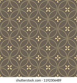 Flower geometric pattern. Seamless vector background. Gold and grey ornament. Ornament for fabric, wallpaper, packaging, Decorative print