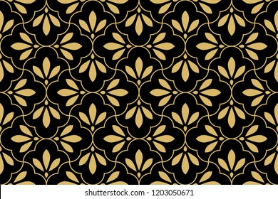 Flower geometric pattern. Seamless vector background. Gold and black ornament. Ornament for fabric, wallpaper, packaging, Decorative print